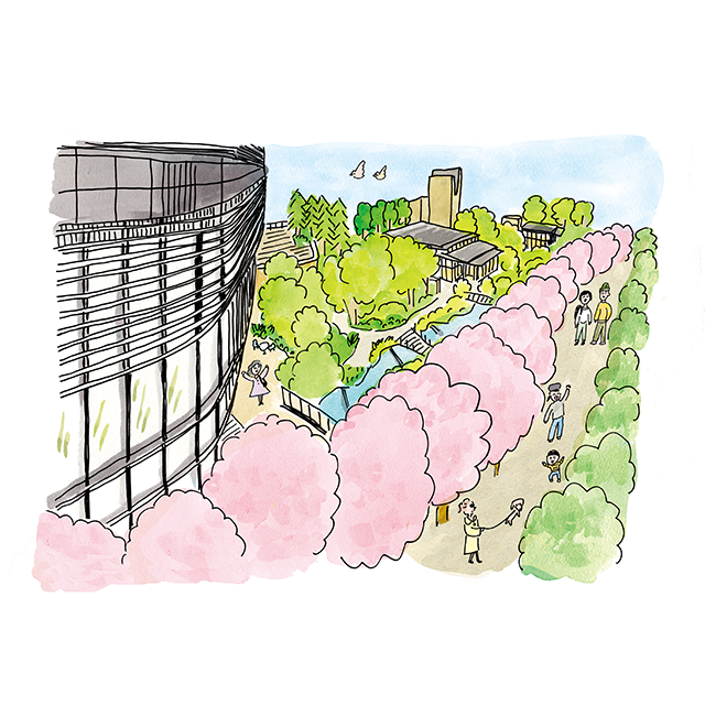 待ち遠しい!赤坂インターシティAIRの桜並木[溜池山王で、春さんぽ]