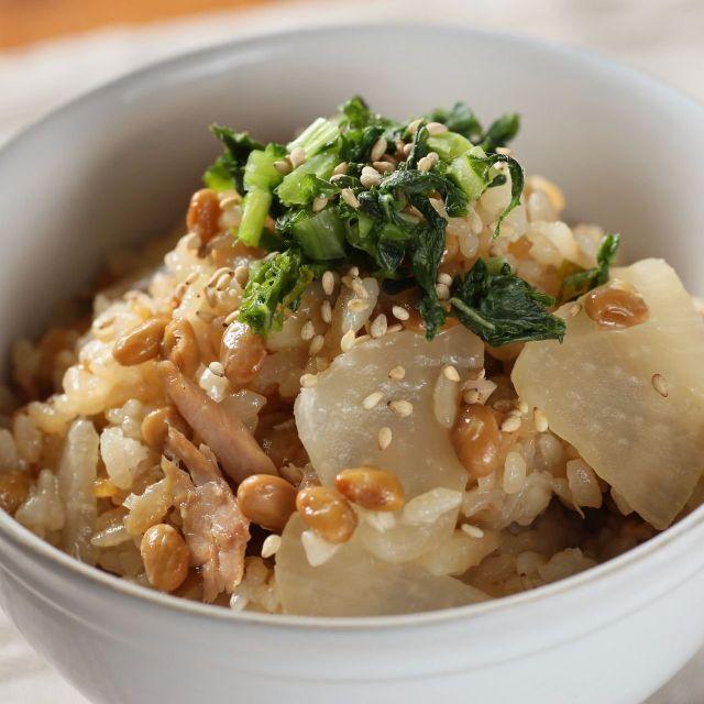 好きな人も、ニガテな人も!毎日納豆レシピ⑤~ツナと大根の炊き込み納豆混ぜごはん